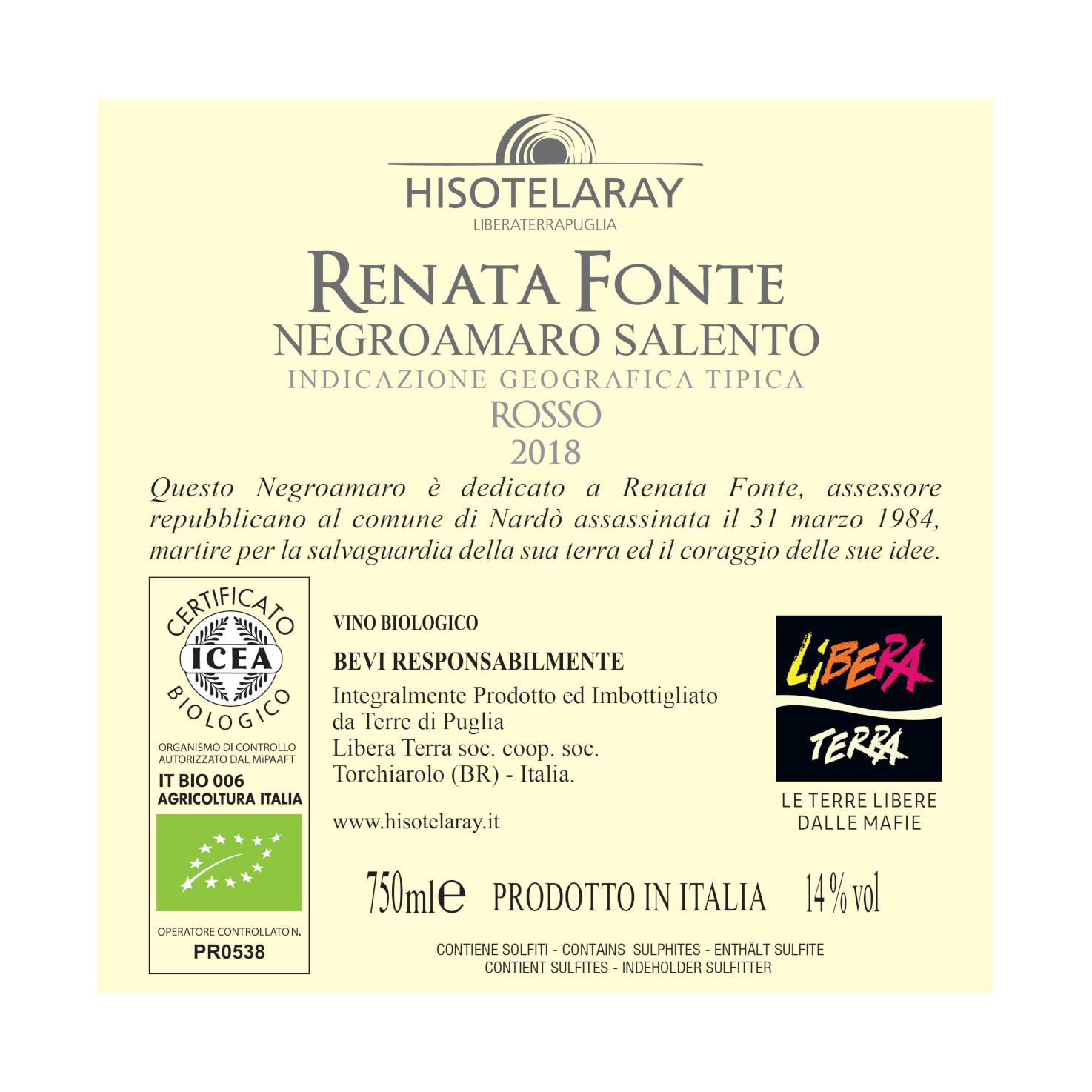 Negroamaro – Renata Fonte – IGT Salento 2018 75cl