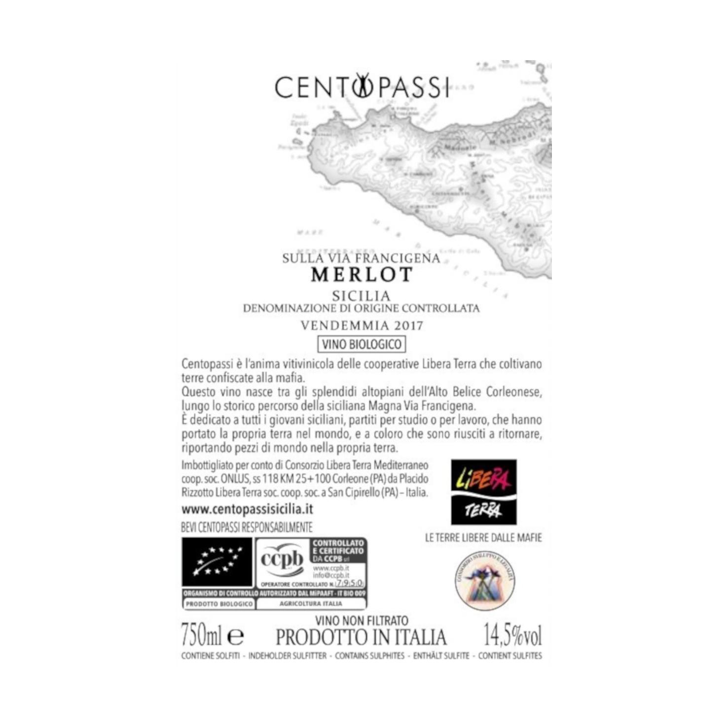 Merlot – Sulla Via Francigena – DOC Sicilia 2017 75cl
